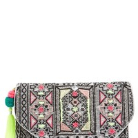 Women's Berry Metallic Embroidered Clutch with Tassel