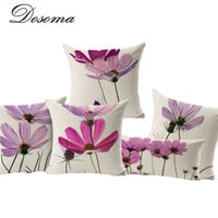 Plain Purple Flowers Cushions Home Decor Pillows New 2016 Signature Cotton Decorative Throw Pillows Decor Pillow ZT15007