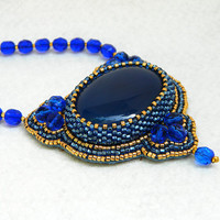Arabian Nights royal blue and gold bead embroidered pendant necklace with natural blue agate gemstone ooak handmade jewelry