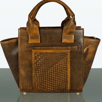 Leather Tote - MIAETMOI Katniss Bag - Brown Distressed