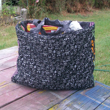 Skulls Tote Bag Reusable Grocery Bag Ready To ship