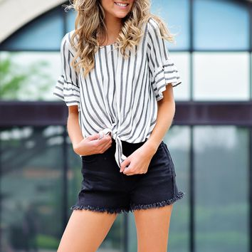* Paulina Striped Top With Tie Front : Black/Ivory