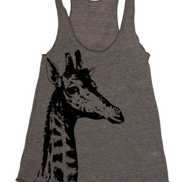 Womens Tank Giraffe Racerback top - american apparel tanktop shirt - XS, S, M, and L (9 Color Options)