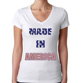 Made In America Shirt 4th Of July Women's Sporty V Shirt