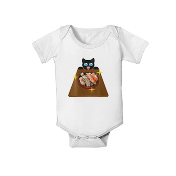 Anime Cat Loves Sushi Baby Romper Bodysuit by TooLoud