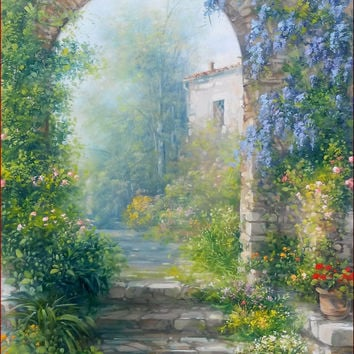 IItalian painting old bloomed stone arc Tuscany original canvas of Antonietta Varallo Italy Toscana