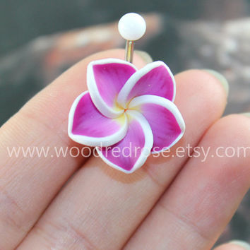 More COLOR for Choose! Plumeria Belly Button Ring,Purple Hawaiian Flower Belly Button Ring ,Hawaii Navel Stud Jewelry