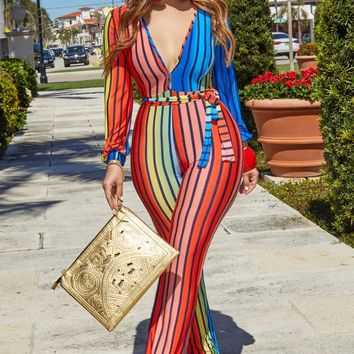 Ingrid Sexy Long Sleeves Plunging Multicolor Stripe Print Jumpsuit