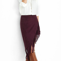 Burgundy Fringed Asymmetrical Pencil Skirt from EXPRESS