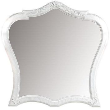 GM Luxury Dali Decorative Wall Art Solid Wood Hand Carved Mirror White Mother of Pearl 36.2x35.4