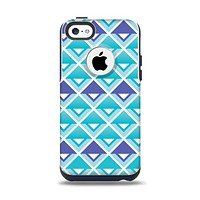 The Triangular Teal & Purple Abstract Cubes Apple iPhone 5c Otterbox Commuter Case Skin Set