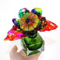 Rainbow Tie Dye Murano Glass Flower Vase, Home Decor, neon Chihuly crackle, Perfume Bottle, groovy, wild arrangement