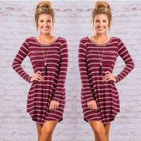 Striped Slim Round Neck Dress B0014267
