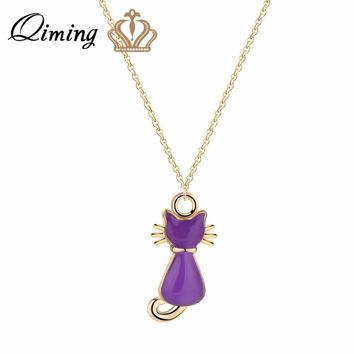 QIMING Purple Oil Painting Cat Necklace Female Ladies Lovely Animal Kitty Cats Fashion Jewelry Gold Necklace Collier Gifts