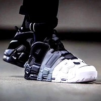 NIKE & LV x Supreme Air More Uptempo 2019 new high-top skateboarding shoes White&black