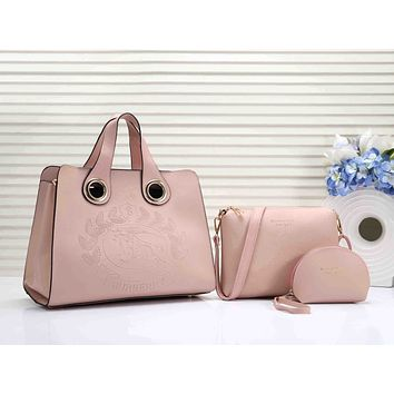 Burberry Fashionable Women Shopping Bag Leather Handbag Tote Shoulder Bag Purse Set Three-Piece Pink