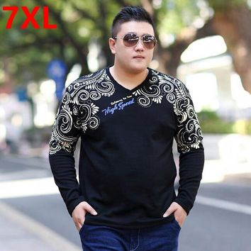 Spring plus size big size men's clothing t-shirt fat loose fashion print T-shirt long-sleeve shirt Large size Mens 7XL 6XL 5XL