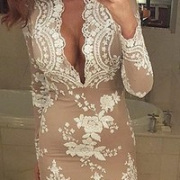 Casual White Floral Print Lace Sequin Deep V Prom Evening Party Mini Dress
