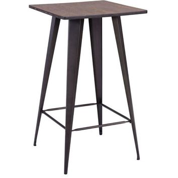Zuo Modern Titus Bar Table Rusty & Elm 601188 Wood Top