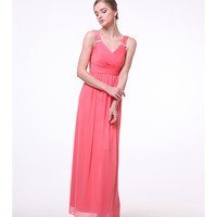 Preorder -  Coral Pink Pleated Chiffon Gown 2015 Prom Dresses