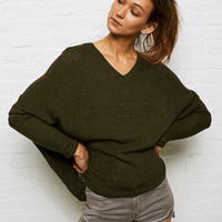 Don't Ask Why Skinny Sleeve Boxy Sweater, Olive