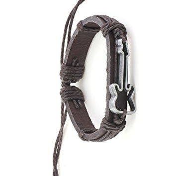 Electric Guitar Outline Bracelet Silver Tone BE10 Brown Leather Vintage Musical Instrument Jewelry