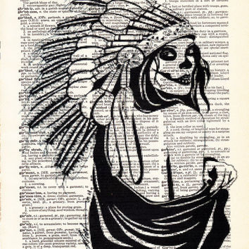 War Bonnet Art- Indian Headdress Art- Cool Gift Poster- Dorm Room Decor- Dictionary Print-Black and White Art