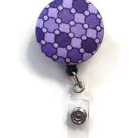 Fabric Covered Retractable Badge Reel Purple Printed Keychain Lanyard