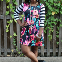 The Bright Side Neon Floral Dress with Stripe Sleeves in Black