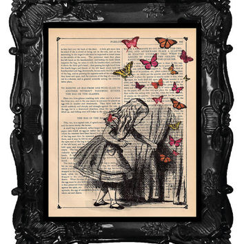 ALICE and the Key, ALICE in Wonderland Print, dictionary antique music book page