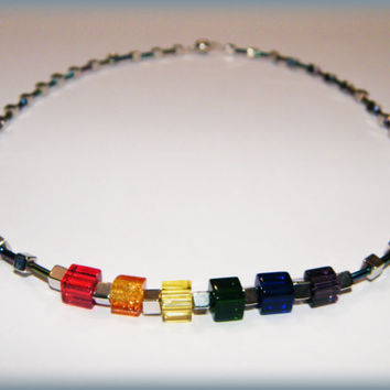 CubicPride Necklace .. Gay Pride necklace with rainbow glass cubes, silver cube beads, rainbow sheen glass tube beads and a magnetic clasp.