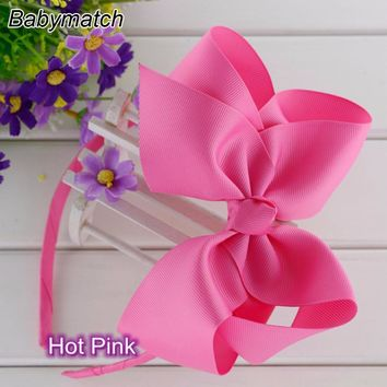 Babymatch 20pcs 6'' Large Ribbon Boutique Hair Bows With Kids Hair Band Fashion Headbands For Teen Girls Hair Free Shipping