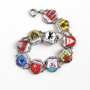 Vintage Silver Plated German Cities Enamel Panel Bracelet - 1940s Germany Souvenir Berlin Hamburg Coat of Arms Shield Charms Costume Jewelry