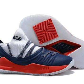 Under Armour SC30 Stephen Curry 5 Low Navy/Red Basketball Shoe