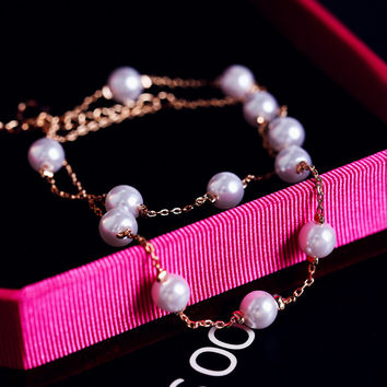 Gift Sexy Shiny New Arrival Jewelry Cute Ladies Double-layered Pearls Bracelet Korean Stylish Anklet [6048618113]