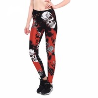 Quick-drying Gothic Leggings Fashion Ankle-Length Breathable Skull Printed