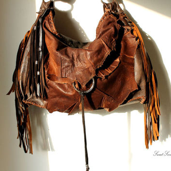 Tribal leather raw edges gypset dark brown distressed hobo bohemian fringed bag fringe raw tote brown rusted hobo tribal