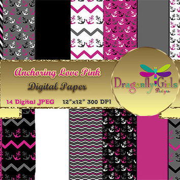 80% OFF Sale Anchoring Love Pink ,paperpacks, commercial use, digital scrapbook papers, vector graphics, printable, Instant Download