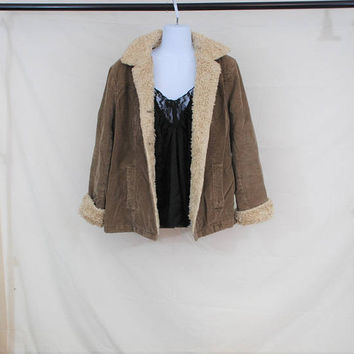VTG 90s Brown Unisex Corduroy Jacket | Shearling Teddy Lined Coat |