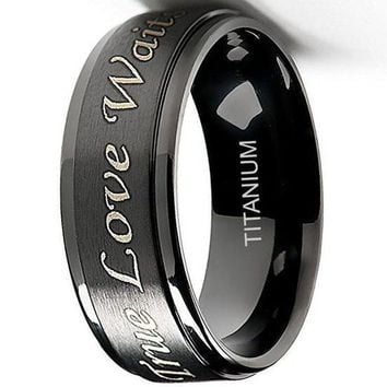 CERTIFIED 8mm True Love Waits Purity Ring in Titanium Black Plated