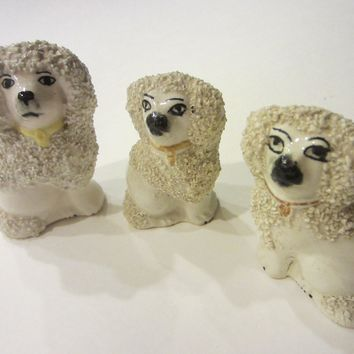 Staffordshire White Spaniels In Group Stamp Marked