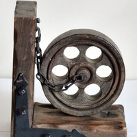 Rustic Wood Wheel and Chain Bookend Steampunk