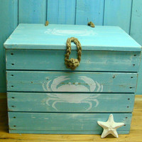 Crab Crate Side Table Treasure Chest Trunk by CastawaysHall Beach House Decor
