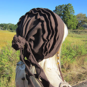 Tie Back Slouch Beanie Hats for Women Rose Back Rag Brown A1113