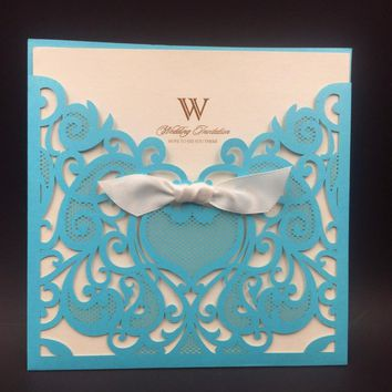 12pcs Wedding Invitations Cards Romantic Party Cards Pocket Laser Cut Wedding Invitations Mariage Card Christmas card No Inners