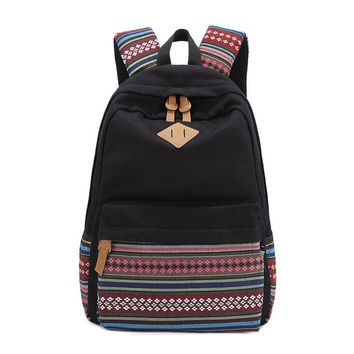 Black Canvas Ethnic Style Large Backpack Travel Bag Daypack