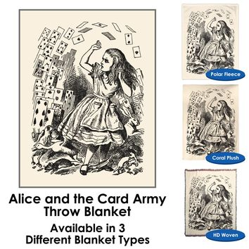 Alice in Wonderland - Alice and the Card Army - Throw Blanket / Tapestry Wall Hanging