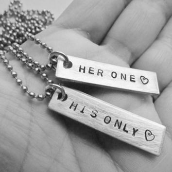 Set of 2 Necklaces Her One His Only Hand Stamped Personalized Jewelry Couples Charm Necklaces Aluminum Tag Stainless Steel Chain