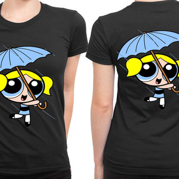 The Powerpuff Girls Blue Umbrella 2 Sided Womens T Shirt