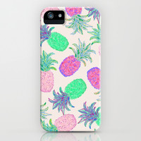 Pineapple Pandemonium Pink Punch iPhone & iPod Case by Lisa Argyropoulos